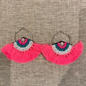 J. Crew Hot Pink Fringe Fan Earrings